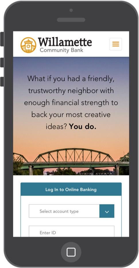 Mobile website landing page