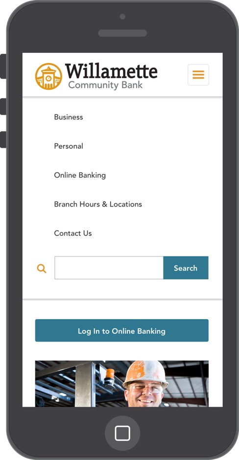 Mobile website menu