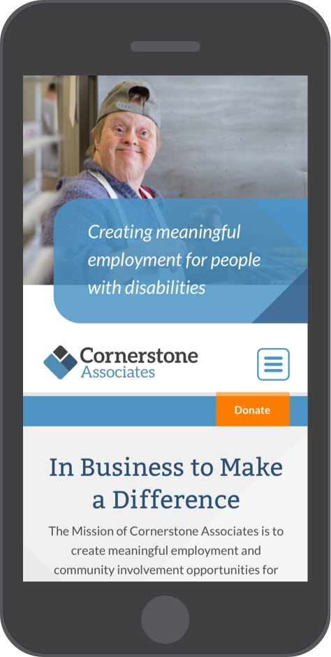 Cornerstone Associates website home page on mobile