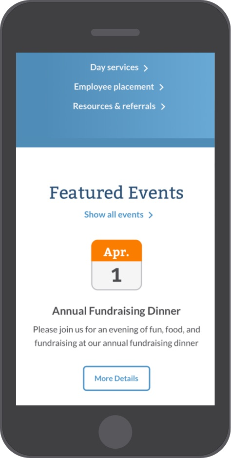 Cornerstone Associates website calendar events on mobile