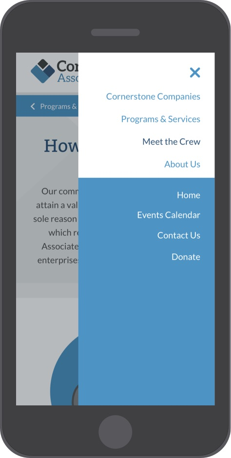 Cornerstone Associates website menu on mobile